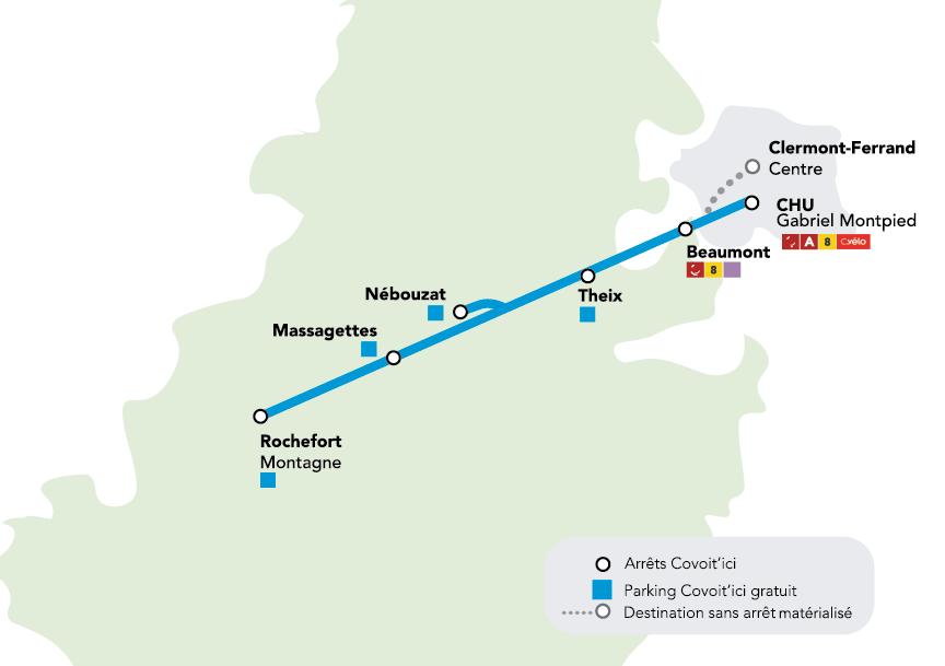 partage de trajet covoiturage Clermont-Ferrand Covoit'ici ligne