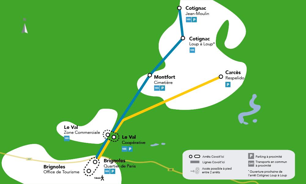 Lignes de covoiturage de la Provence Verte